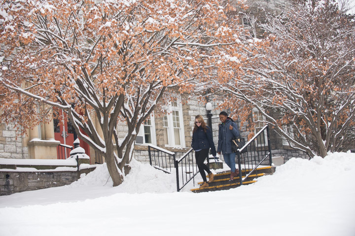Winter admissions photography at Wilson College