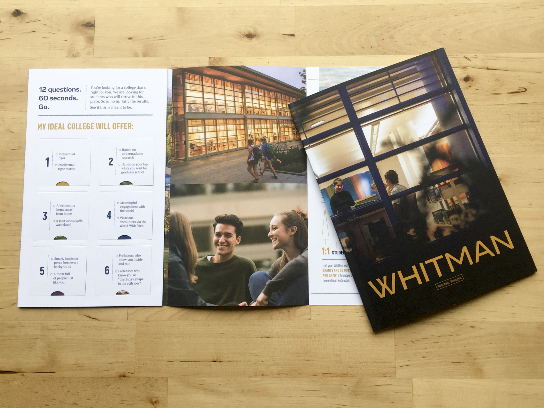 The recently published Whitman College Viewbook. Photography by Matthew Lester